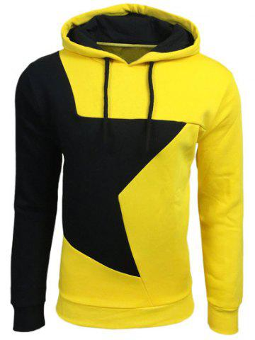 Fancy Color Block Star Splicing Yellow Hoodie - L YELLOW Mobile