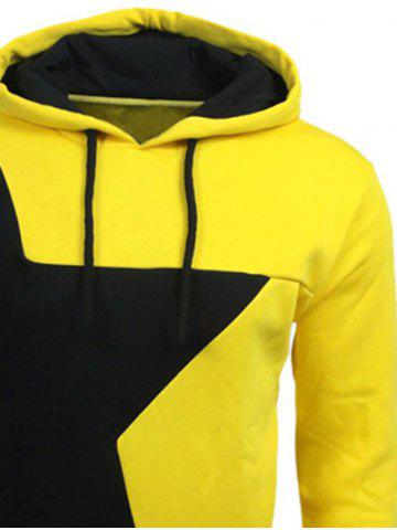 Store Color Block Star Splicing Yellow Hoodie - L YELLOW Mobile