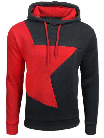 Buy Color Block Star Splicing Hoodie DEEP GRAY 2XL