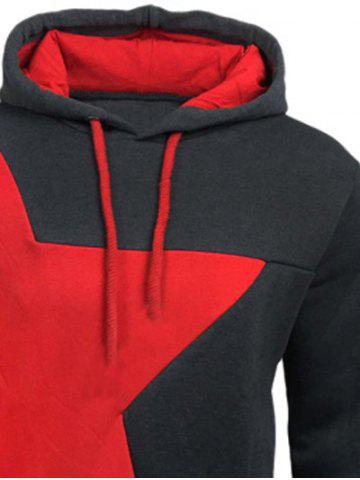 Hot Color Block Star Splicing Hoodie - 2XL DEEP GRAY Mobile