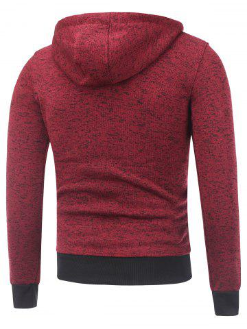 New Hooded Cotton Blends Applique Zip Up Hoodie - XL RED Mobile
