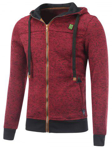 New Hooded Cotton Blends Applique Zip Up Hoodie RED L