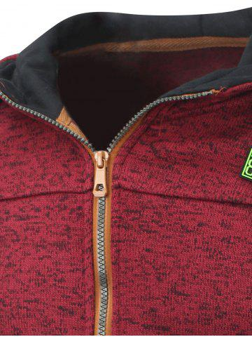 Hot Hooded Cotton Blends Applique Zip Up Hoodie - M RED Mobile