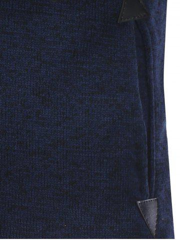 New Hooded Cotton Blends Applique Zip Up Hoodie - L BLUE Mobile