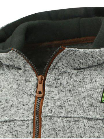 Buy Hooded Cotton Blends Applique Zip Up Hoodie - 3XL LIGHT GRAY Mobile