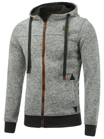New Hooded Cotton Blends Applique Zip Up Hoodie - 3XL LIGHT GRAY Mobile