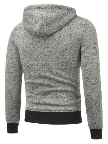 Buy Hooded Cotton Blends Applique Zip Up Hoodie - 2XL LIGHT GRAY Mobile