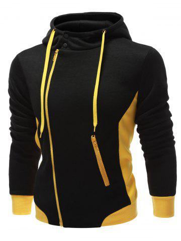 Latest Hooded Button Design Drawstring Color Block Hoodie - L BLACK Mobile