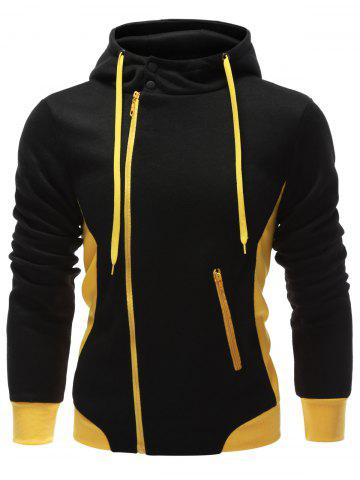 Chic Hooded Button Design Drawstring Color Block Hoodie