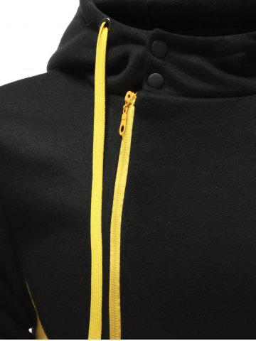 Store Hooded Button Design Drawstring Color Block Hoodie - L BLACK Mobile