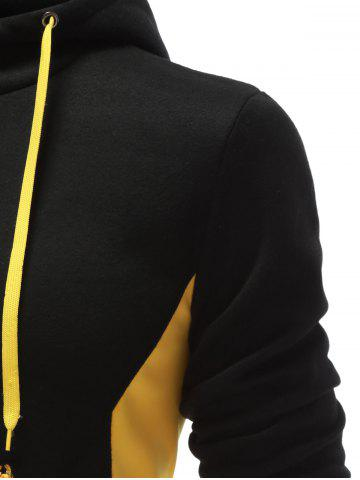 New Hooded Button Design Drawstring Color Block Hoodie - L BLACK Mobile