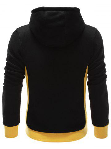 New Hooded Button Design Drawstring Color Block Hoodie - M BLACK Mobile