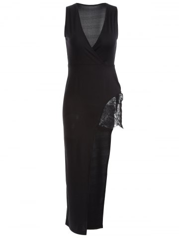 Trendy Plunging Neck Lace Spliced High Low Maxi Dress