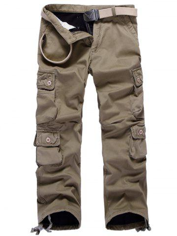 Affordable Zipper Fly Plus Size Pockets Flocking Cargo Pants - 33 DARK KHAKI Mobile