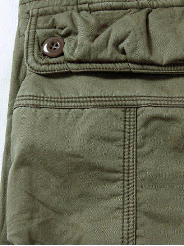 Shop Zipper Fly Plus Size Pockets Flocking Cargo Pants - 33 DARK KHAKI Mobile