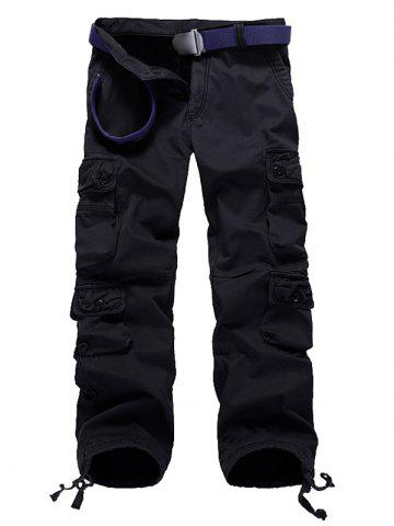 Affordable Zipper Fly Plus Size Pockets Flocking Cargo Pants BLACK 30
