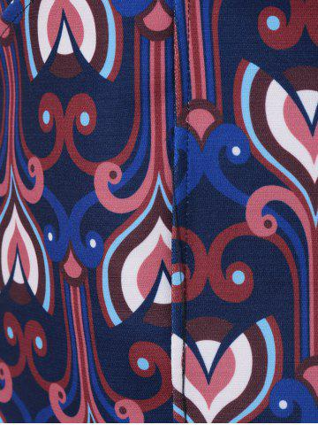 New Tribe Print High Waist A Line Skirt - M COLORMIX Mobile