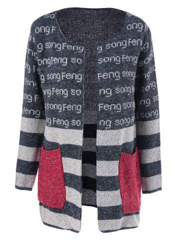 Sale Pockets Graphic Striped Cardigan DEEP GRAY ONE SIZE