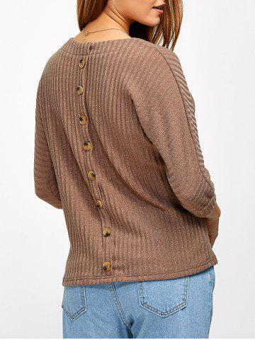 Shop Back Button Ribbed Sweater KHAKI 2XL