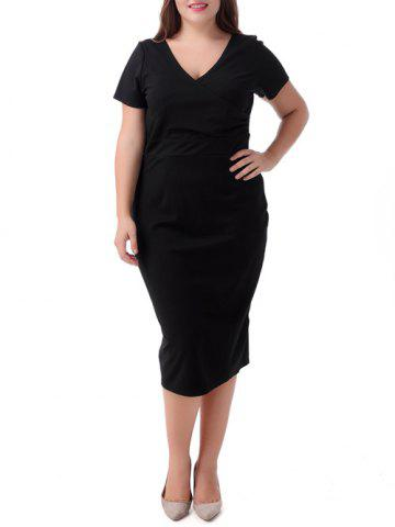 Shops Plus Size Surplice Short Sleeve Jumper Dress BLACK 8XL