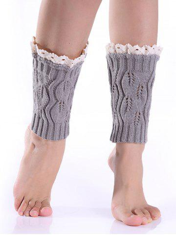 Trendy Hollowed Lace Edge Knitted Boot Cuffs LIGHT GRAY