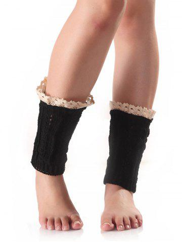 Fancy Lace Edge Wheat Knitted Boot Cuffs - BLACK  Mobile