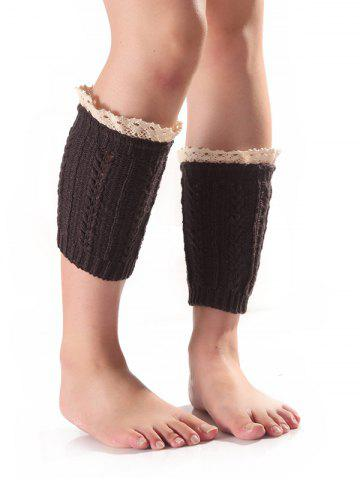 Lace Edge Wheat Knitted Boot Cuffs - Deep Gray