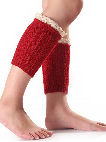 Lace Edge Wheat Knitted Boot Cuffs - Dark Red