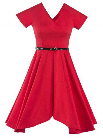 Retro V Neck Asymmetric Dress - Red - L