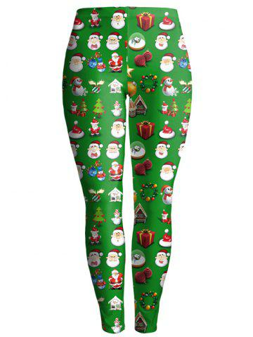 Chic Christmas Gift Print Ankle Leggings GREEN XL