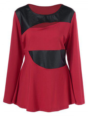 Latest Plus Size Faux Leather Patchwork Peplum Pullover RED WITH BLACK XL