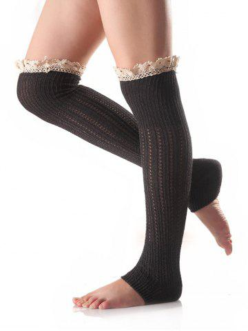 Lace Edge Knitted Leg Warmers - Deep Gray