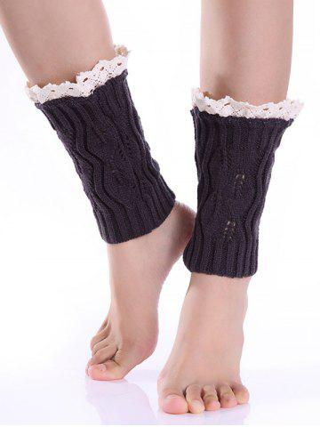 Hollowed Lace Edge Knitted Boot Cuffs - Deep Gray - L