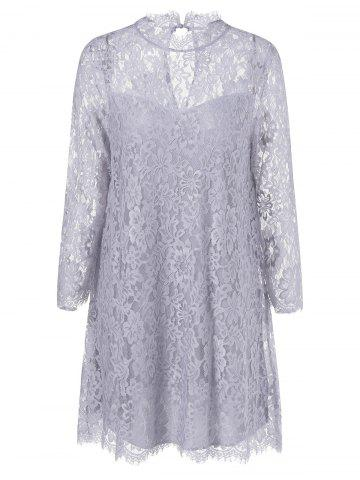 Fancy Sheer Lace Tunic Mini Dress GRAY XL