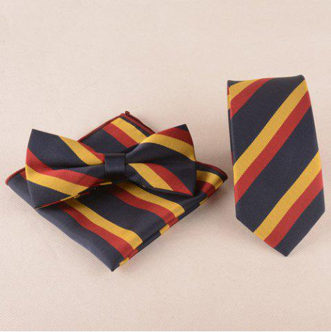 Casual Color Block Tie Pocket Square Bow Tie - Black - Size(39-40)