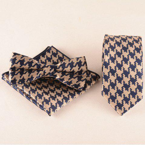 Buy Casual Houndstooth Pattern Tie Pocket Square Bow Tie