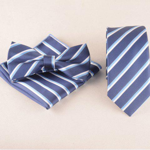 Classical Stripe Pattern Tie Pocket Square Bow Tie - Medium Blue - Size(39-40)