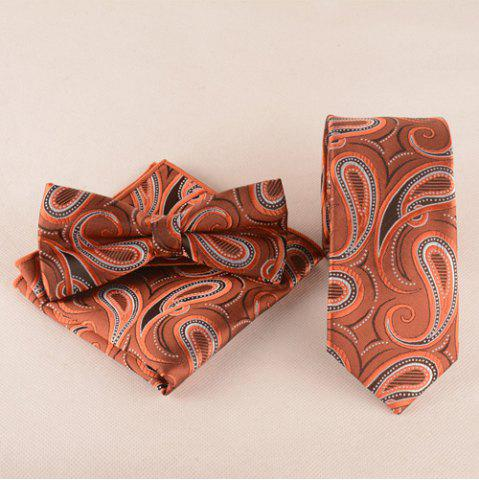 Casual Cashews Pattern Tie Pocket Square Bow Tie - Dark Red - L
