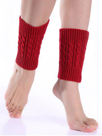 Trendy Cable Knitted Boot Cuffs RED