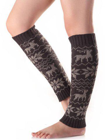 Buy Christmas Warm Fawn Snowflake Knitted Leg Warmers - Deep Gray