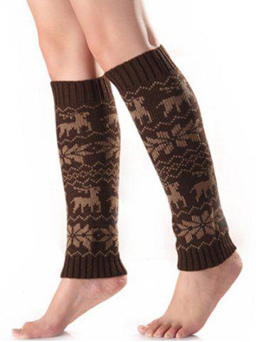 Christmas Warm Fawn Snowflake Knitted Leg Warmers - Coffee