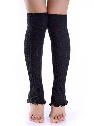 Hot Cable Knit Leg Warmers BLACK
