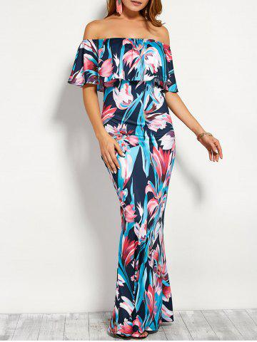 Unique Flounce Off The Shoulder Floral Maxi Dress PURPLISH BLUE L