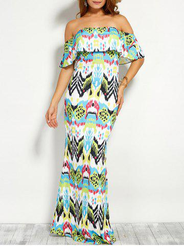 Buy Flounce Off The Shoulder Printed Maxi Dress