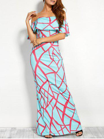 Print Flounce Off The Shoulder Maxi Dress - Windsor Blue - M