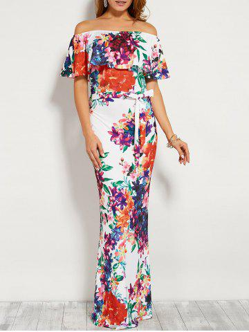 Outfits Floral Flounce Off The Shoulder Long Maxi Dress WHITE S