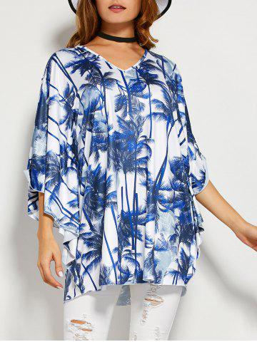 Online Coconut Tree Butterfly Sleeve Open Back Blouse