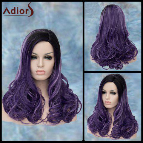 Fancy Long Side Parting Curly Black Ombre Purple Lolita Synthetic Wig
