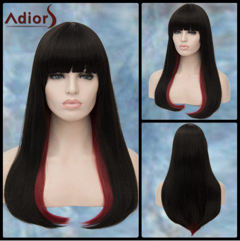 Sale Adiors Long Double Color Full Bang Straight Tail Adduction Lolita Synthetic Wig RED/BLACK