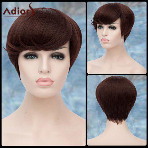 Sale Adiors Spiffy Short Side Bang Straight Lolita Synthetic Wig DEEP BROWN